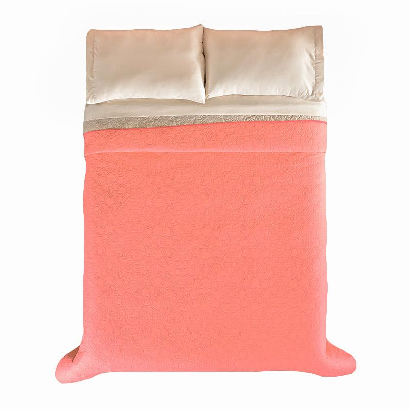 Coral & Beige embroidered comforter