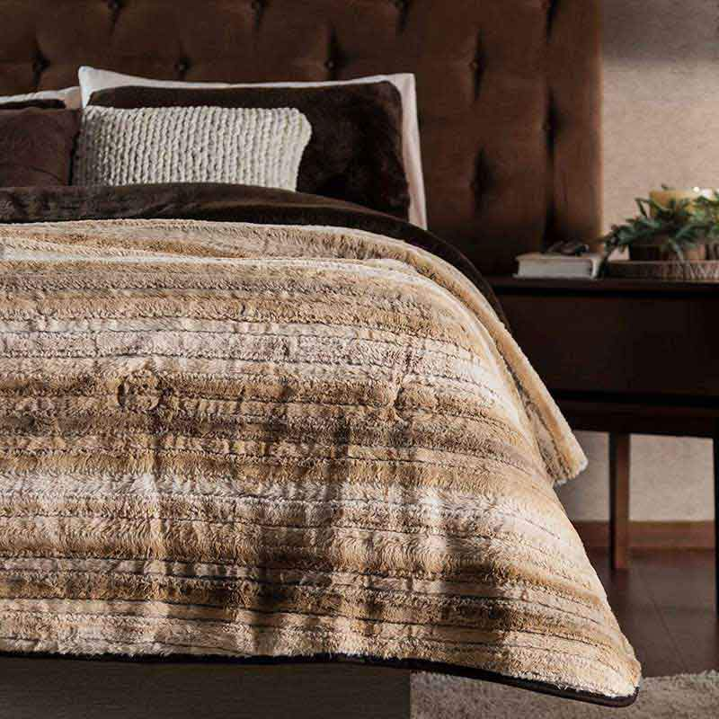 Multi-Colored Earth Tone Stripe Reversible Furry Cover