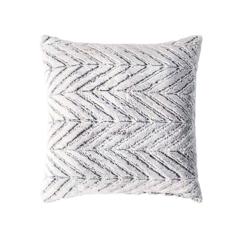 "Textured silver furry 20"" x 20"" square decorative pillow"