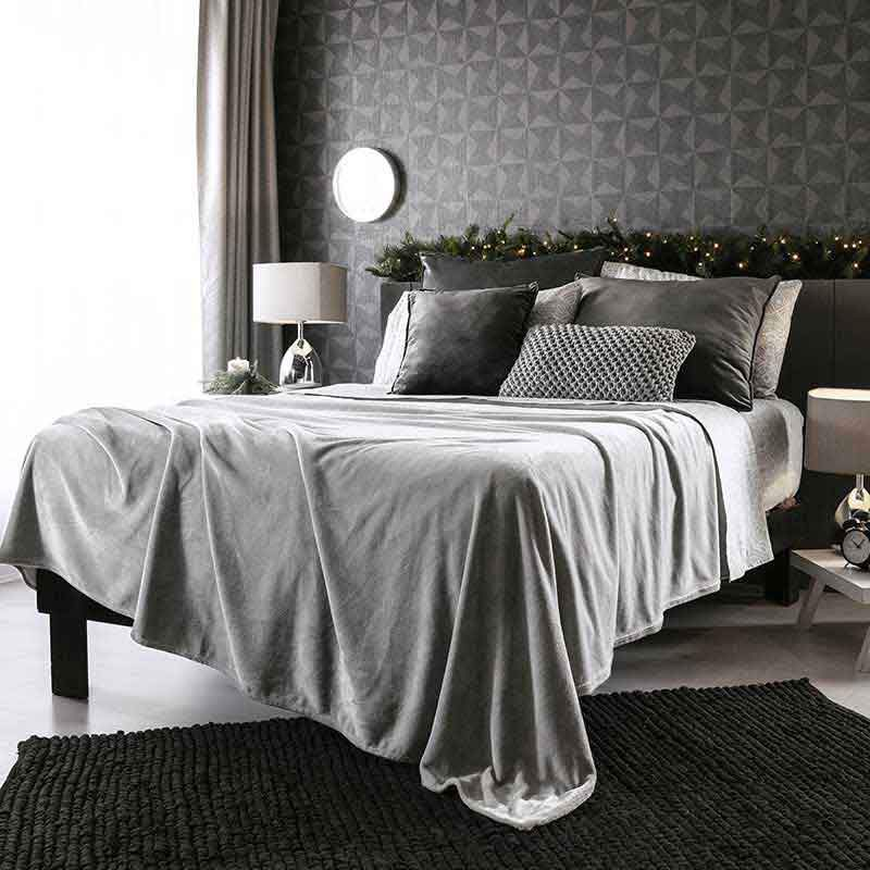 Gray velour light blanket