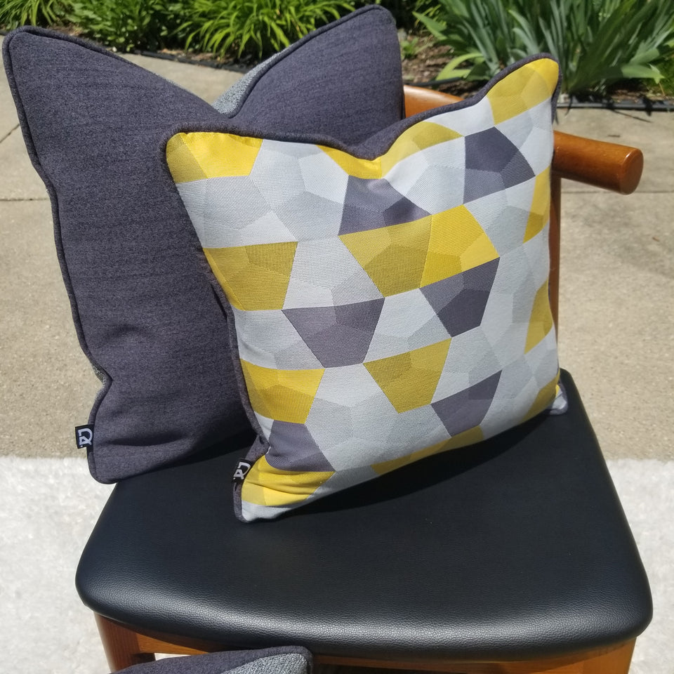 decurban grellowstone pair of grey and yellow reversible pillow covers