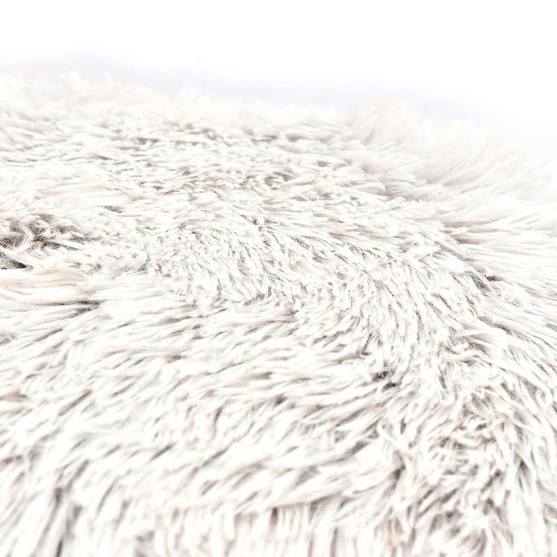white / ivory textured shaggy furry pillow detail