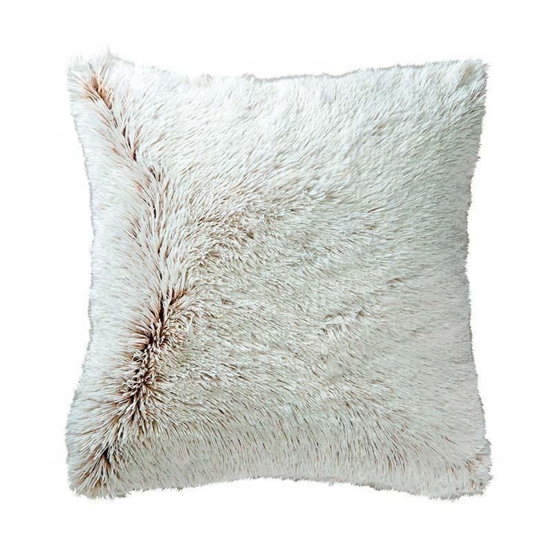 white / ivory textured shaggy furry pillow