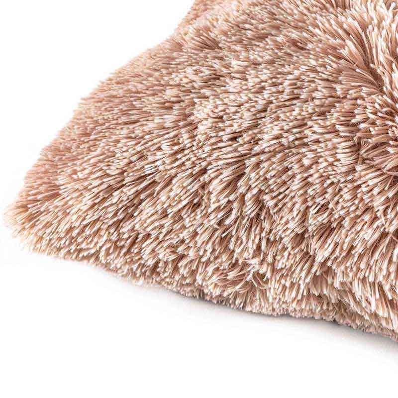 pink textured shaggy furry pillow detail