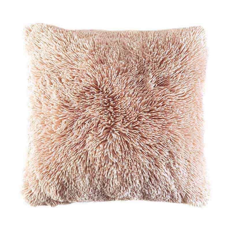 pink textured shaggy furry pillow