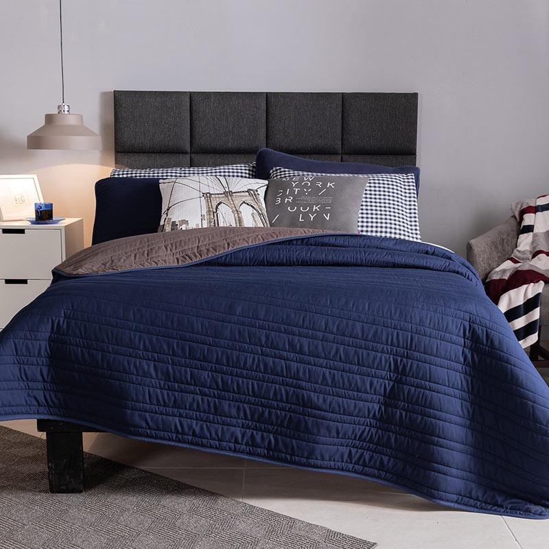 Simple Blue & Gray embroidered reversible comforter