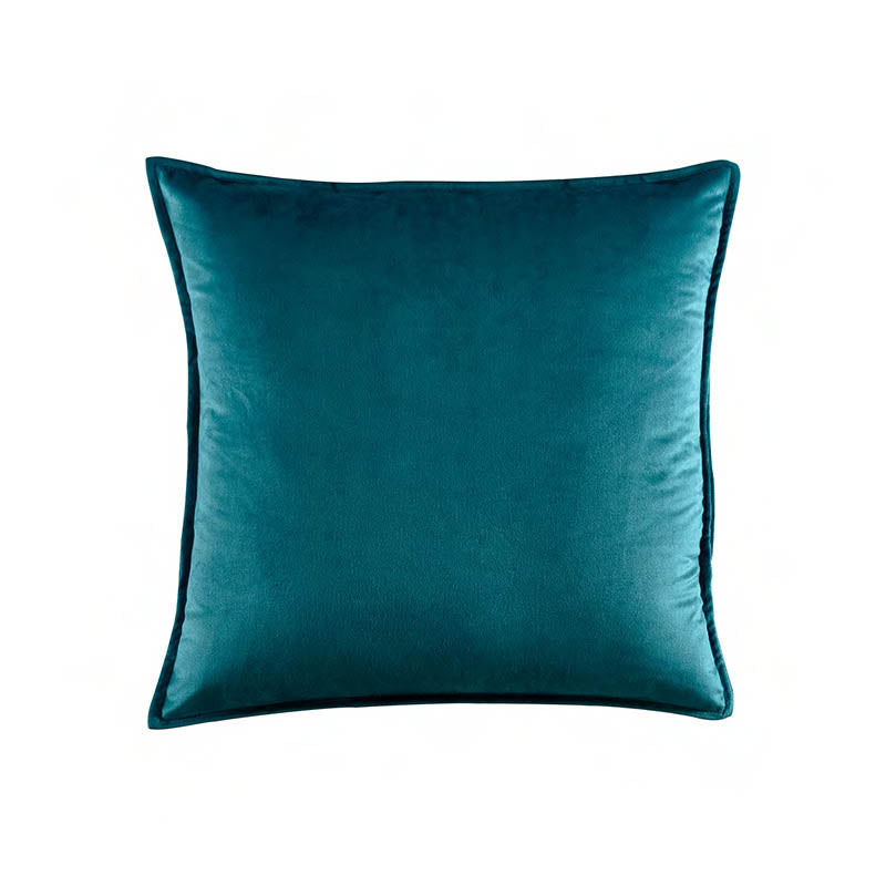 "18""W x 18""H square turquoise solid velvet pillow cover"