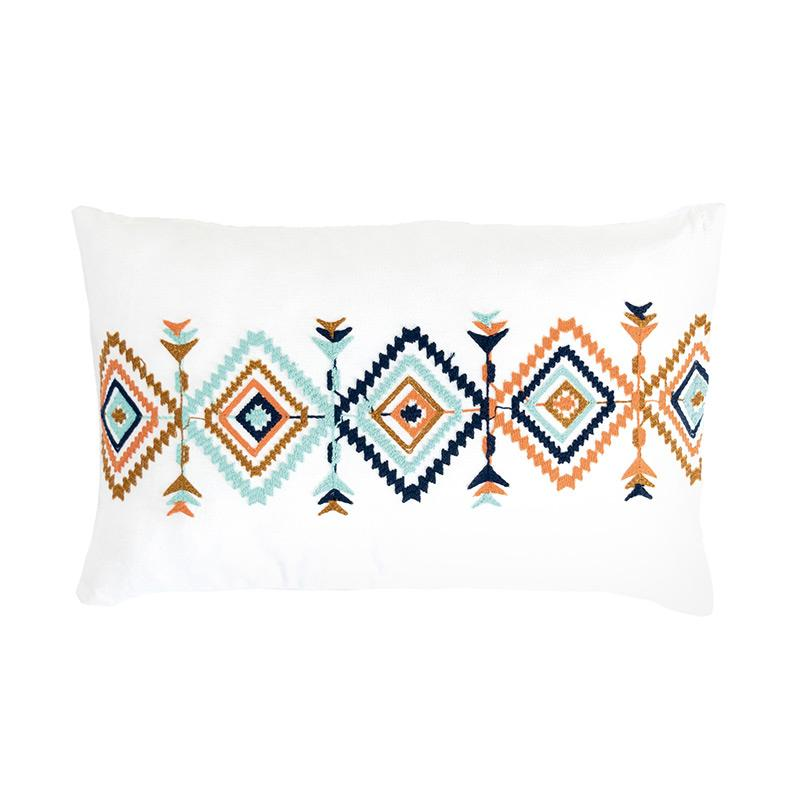 Geometric embroidered multicolored rectangle pillow cover