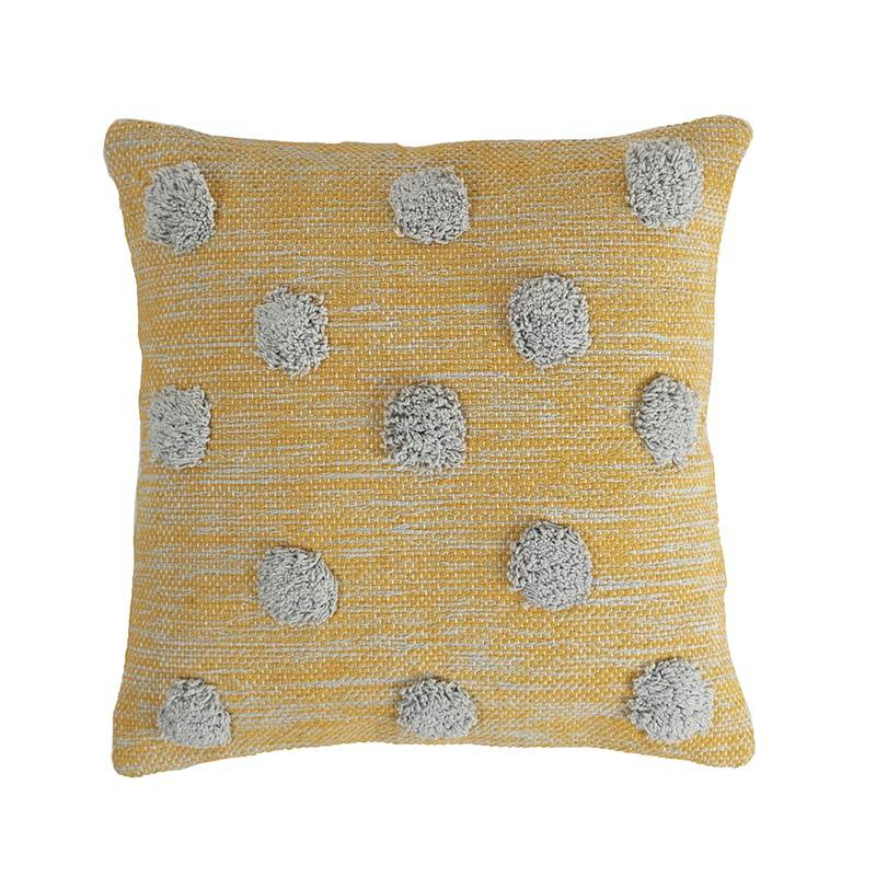 yellow and gray woven decorative pillow cover