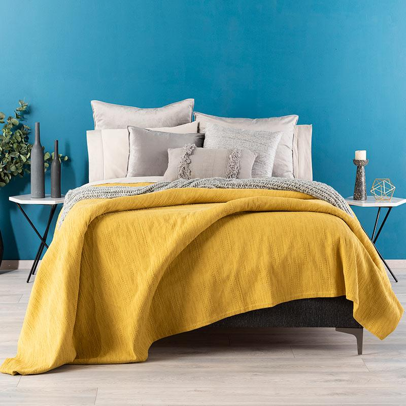 Yellow Jacquard Luxurious Woven Cotton Quilt