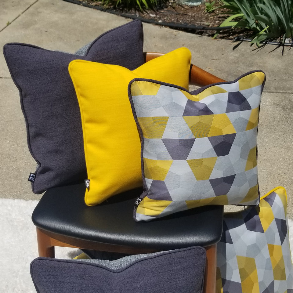 decurban grellowstone pair of grey and yellow reversible pillow covers bundle
