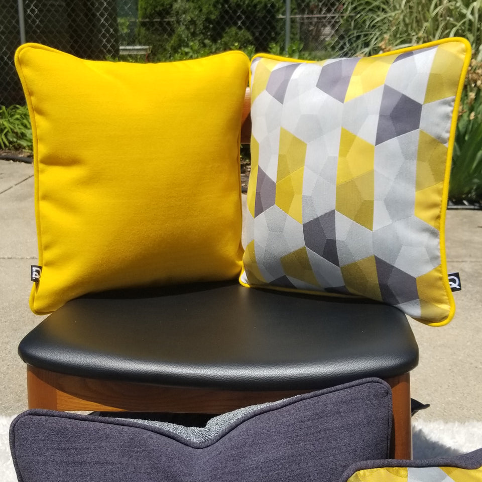 decurban yellowstone pair of grey and yellow reversible pillow covers