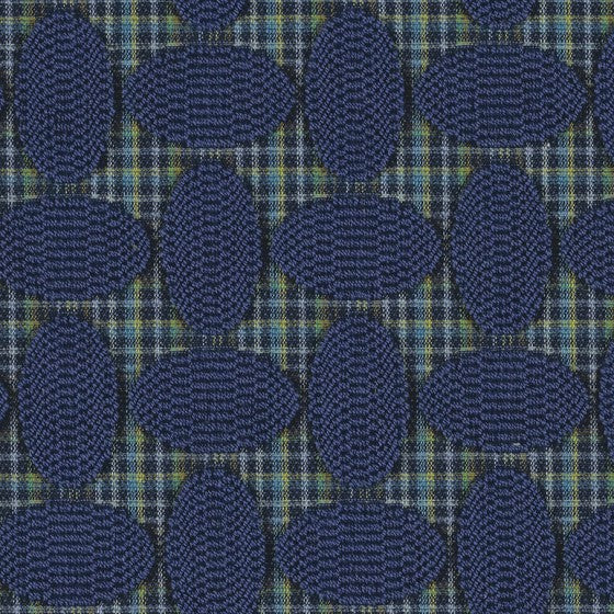 navy blue circle geometric pattern on top of white, blue, green plaid by Designtex Ainsley, color Cobalt