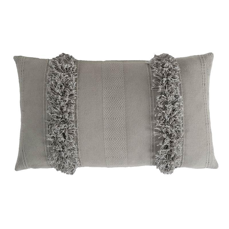 gray textured woven rectangle decorative throw pillow