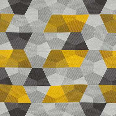 yellow, light gray, and dark geometric patterned cotton fabric Momentum Tundra color Fold