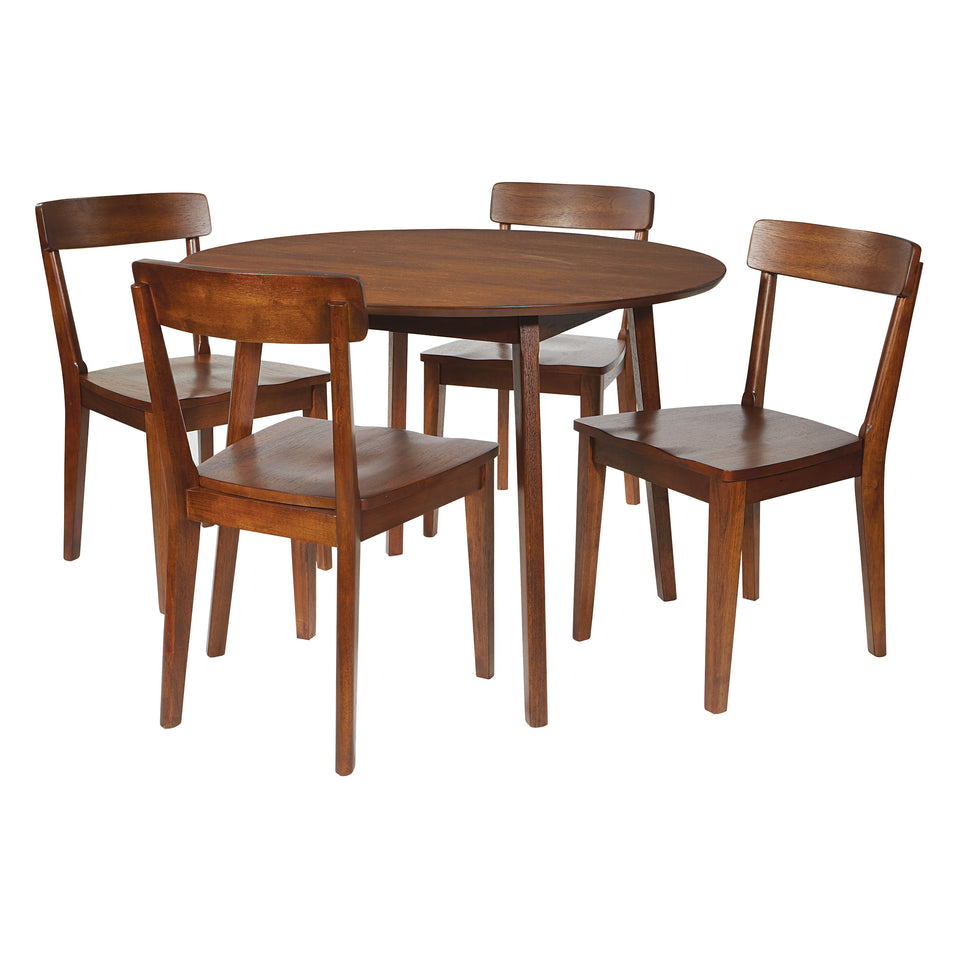 o'connor mid century modern 5 piece chestnut dining set