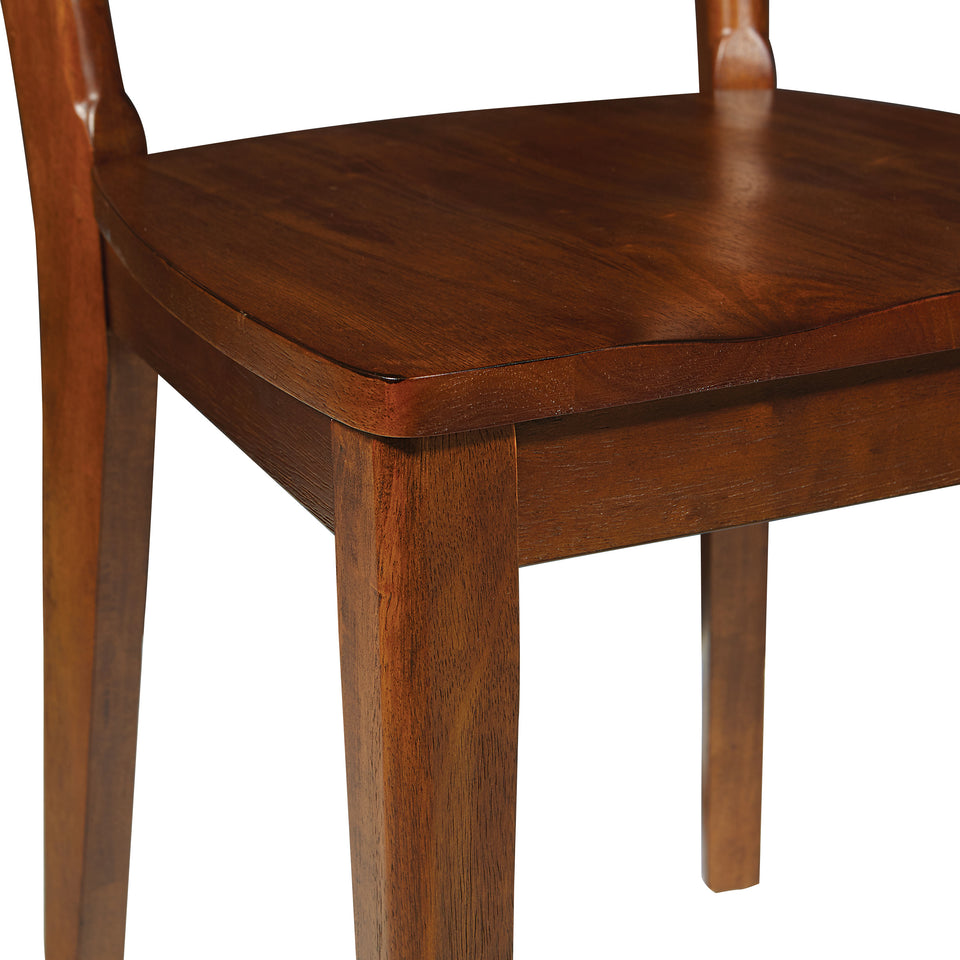 o'connor mid century modern 5 piece chestnut dining set chair detail