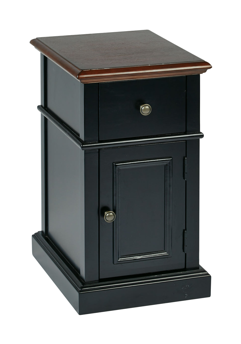 oxford two tone walnut and blalck side table with single drawer and door with metal knob closed