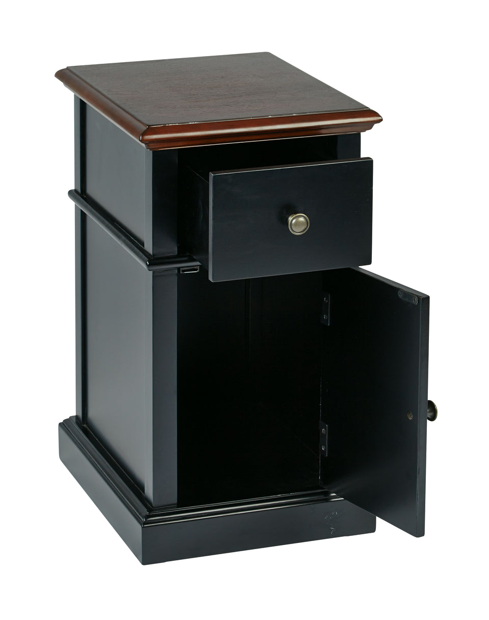 oxford two tone walnut and blalck side table with single drawer and door with metal knob open view
