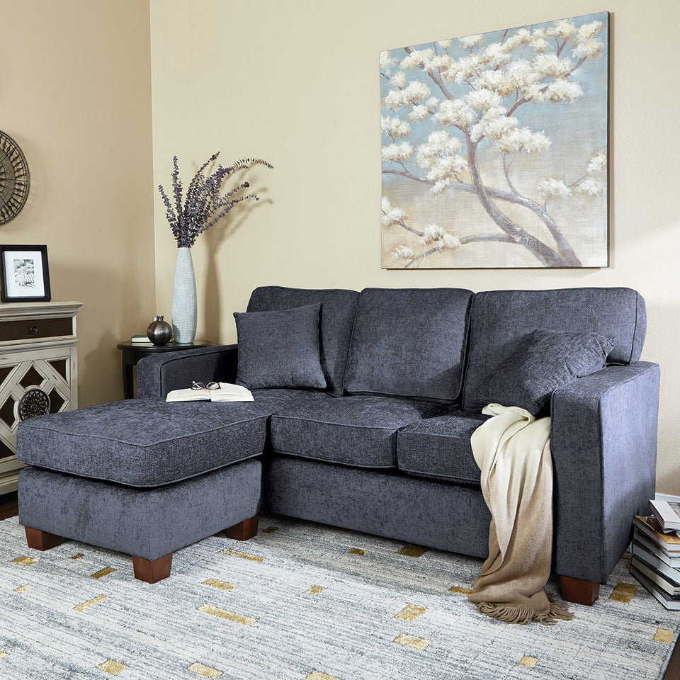 bavido sectional plush sofa in blue in living room setting