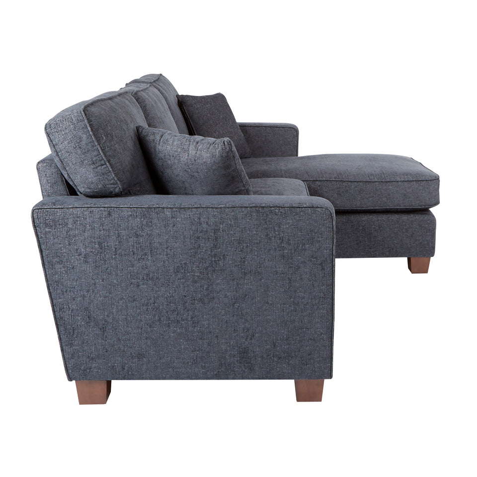 bavido sectional plush sofa in blue side