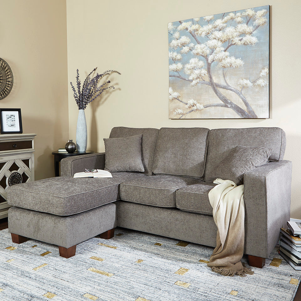 bavido sectional plush sofa in gray in living room setting