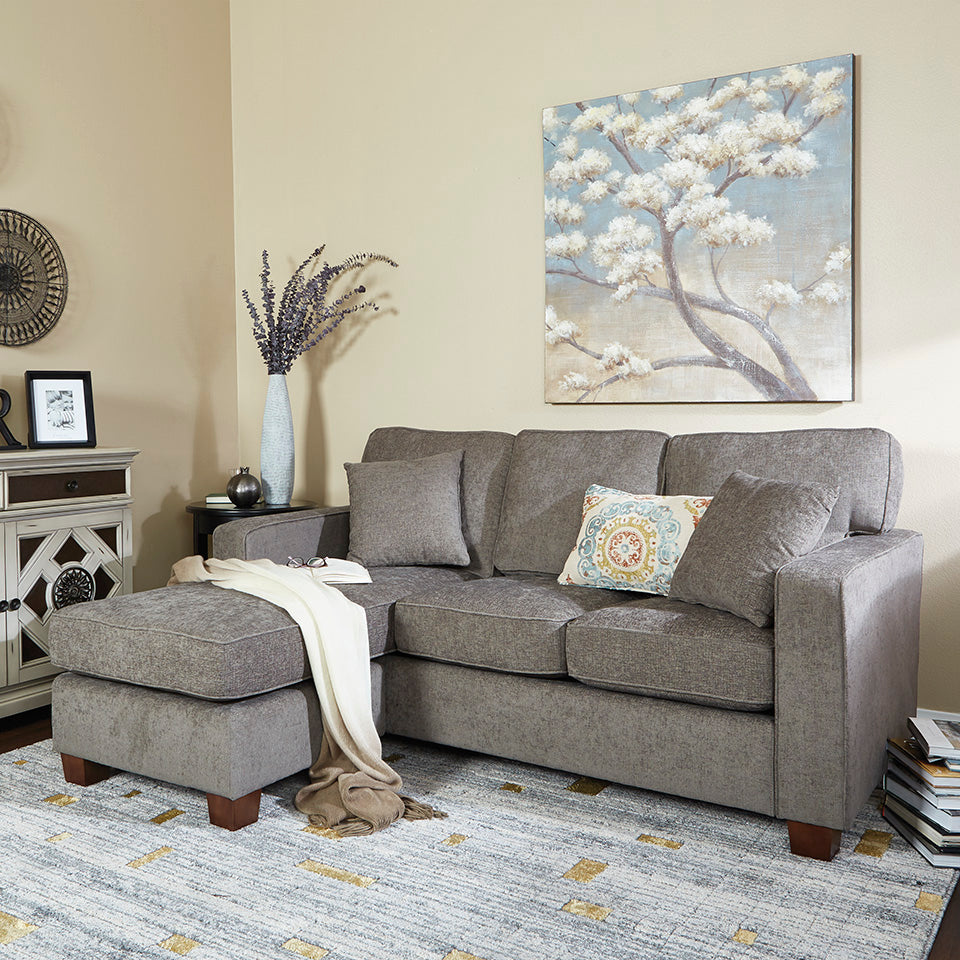 bavido sectional plush sofa in gray in living room setting 2