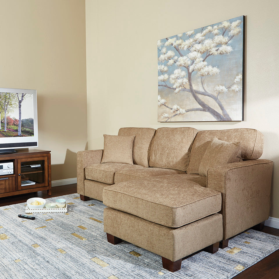 bavido sectional plush sofa in tan in living room setting