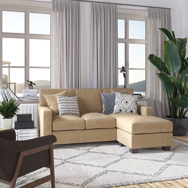 bavido sectional plush sofa in tan in living room setting 2