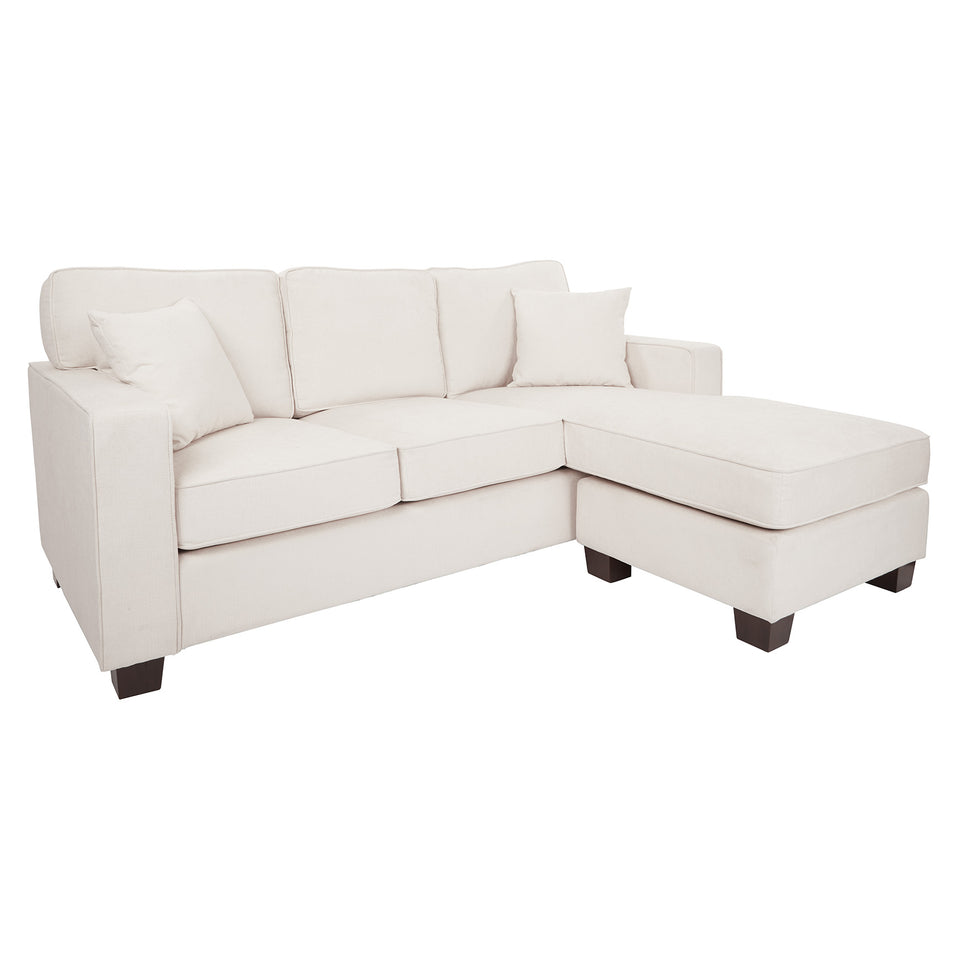 bavido sectional plush sofa in white angle
