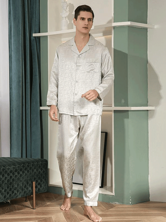 Luxury Long Sleeves Scattered Printed Pajamas Set For Men | Two Color Selected