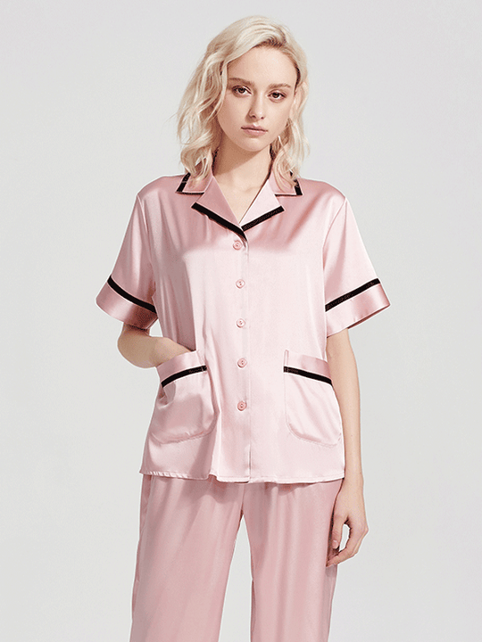 Luxury Coco Collection Short Sleeves Silk Pajamas Set