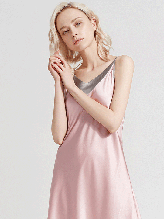 Luxury Contrast Color Silk Nightgown