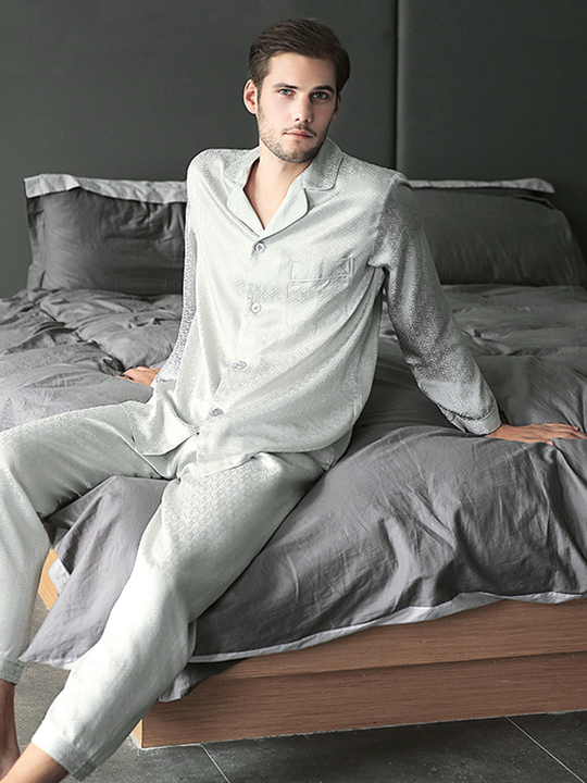High Quality Full Length King Of Mansion Silk Pajamas For Men