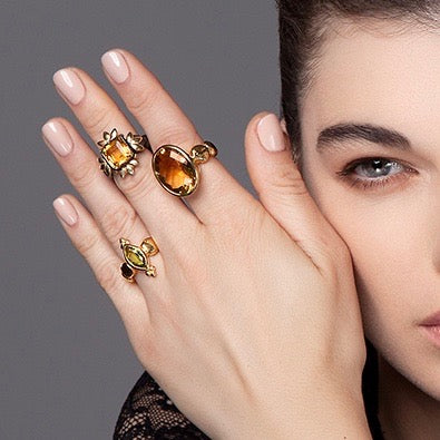 Sun of Lots Ring - Black with Citrine