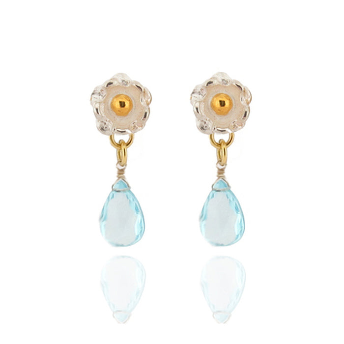 Delphine Drop Earrings - Blue Topaz - Silver