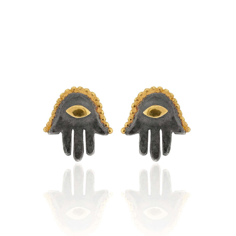 Fatima Hamsa Hand - Stud Earrings - Black