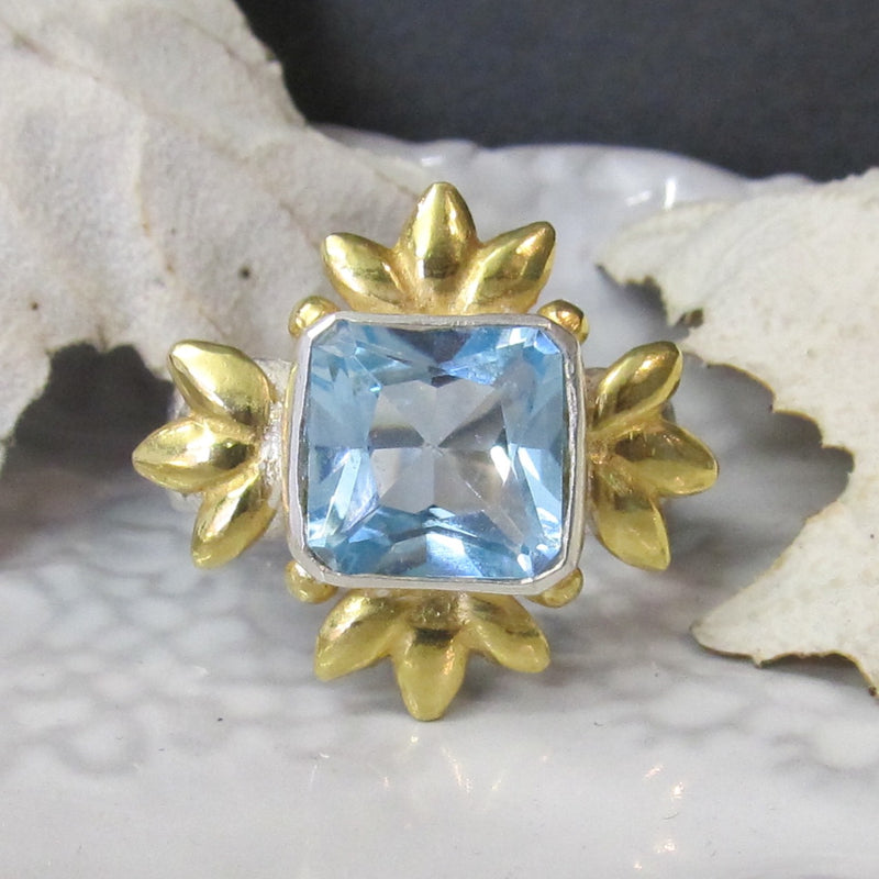 Sun Of Lotus Ring - Blue Topaz