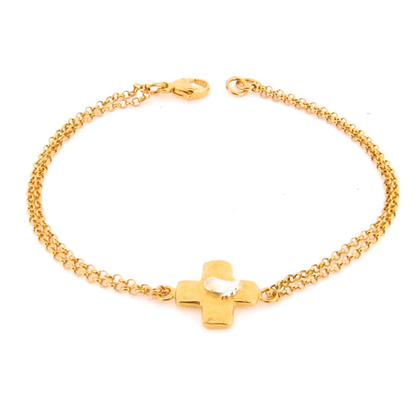 Beamus Baby Foot Cross Bracelet - Gold