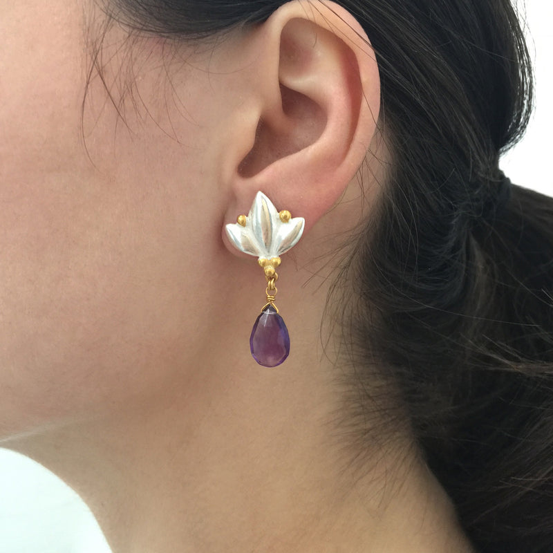 Large Lotus Drop Earrings - Amethyst - Silver