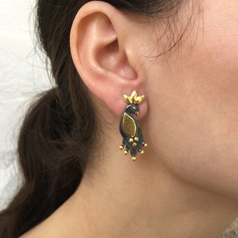 Night Royal Birds - Stud Earrings
