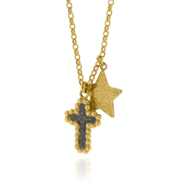 Dasha & Astra, Star And Cross Pendant - Black & Gold