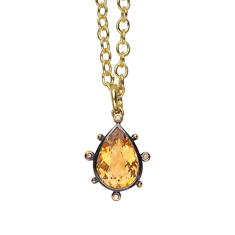Sandra Pendant - Citrine & Diamonds - Simonetta's Jewels Reimagined