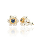 Grace Stud Earrings - Blue Sapphire - Silver