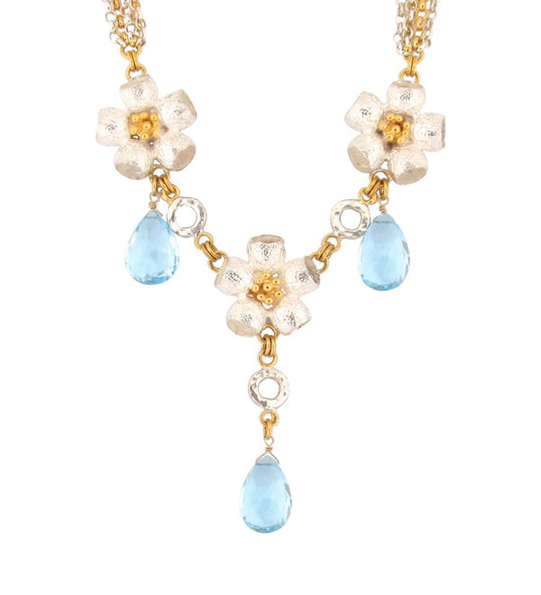 Queen Ophelia Necklace - Blue Topaz - Silver & Gold