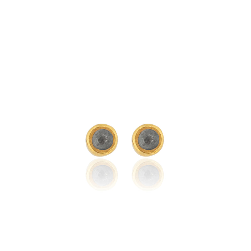 Edrie Round Stud Earrings - Black