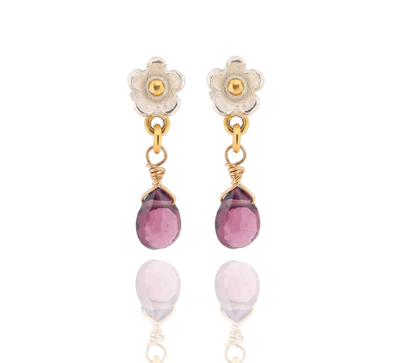 Marguerite Drop Earrings - Rhodolite Garnet