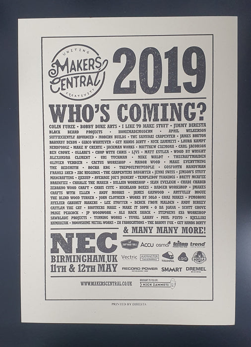 Makers Central 2019 Poster (Made by Jimmy Diresta) (5040657006727)