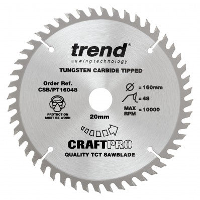 TREND CRAFTPRO 20MM BORE 48 TOOTH FINE FINISH CUT SAW BLADE