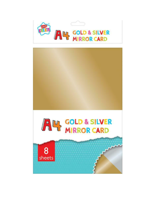 KIDS CREATE A4 GOLD & SILVER MIRROR CARD 8 SHEETS